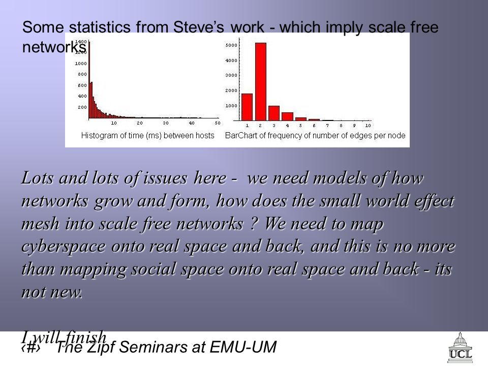 48 The Zipf Seminars at EMU-UM Some statistics from Steves work - which imply scale free networks Lots and lots of issues here - we need models of how networks grow and form, how does the small world effect mesh into scale free networks .