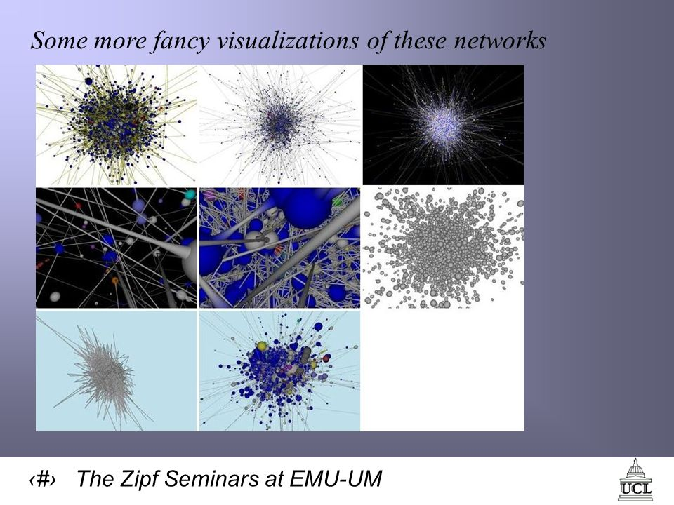 67 The Zipf Seminars at EMU-UM Some more fancy visualizations of these networks