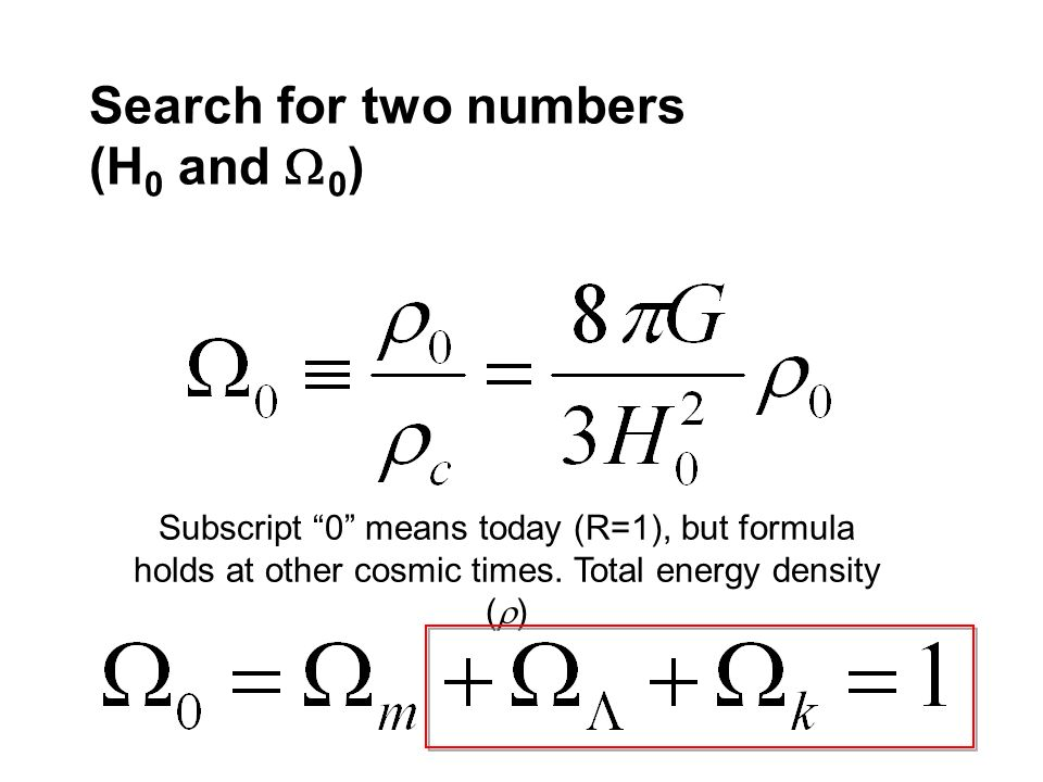 Search for two numbers (H 0 and 0 ) Subscript 0 means today (R=1), but formula holds at other cosmic times. Total energy density ( )