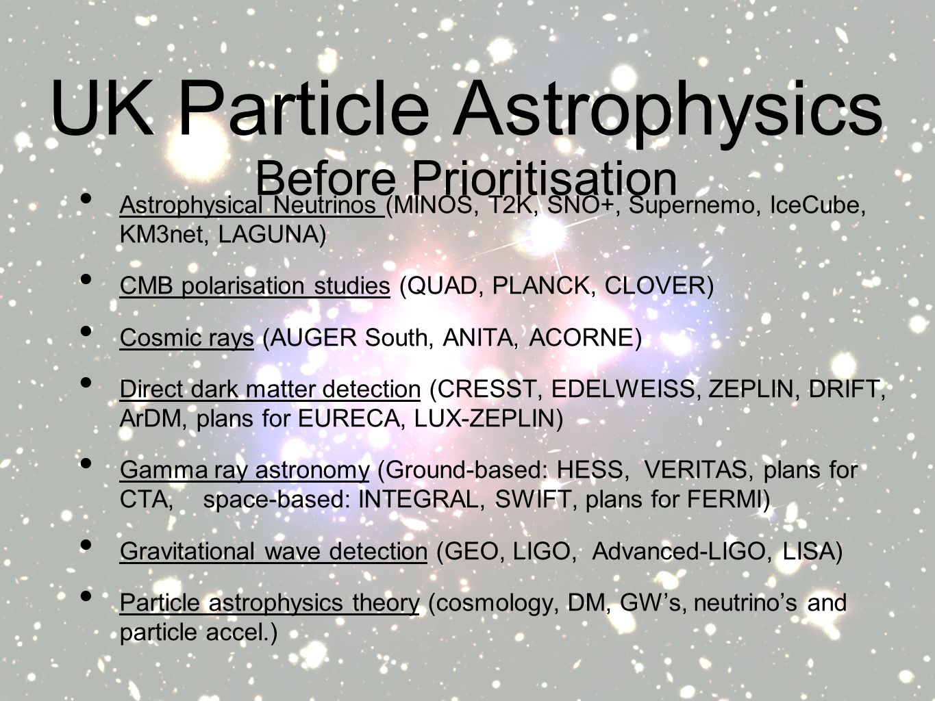UK Particle Astrophysics Astrophysical Neutrinos (MINOS, T2K, SNO+, Supernemo, IceCube, KM3net, LAGUNA) CMB polarisation studies (QUAD, PLANCK, CLOVER) Cosmic rays (AUGER South, ANITA, ACORNE) Direct dark matter detection (CRESST, EDELWEISS, ZEPLIN, DRIFT, ArDM, plans for EURECA, LUX-ZEPLIN) Gamma ray astronomy (Ground-based: HESS, VERITAS, plans for CTA, space-based: INTEGRAL, SWIFT, plans for FERMI) Gravitational wave detection (GEO, LIGO, Advanced-LIGO, LISA) Particle astrophysics theory (cosmology, DM, GWs, neutrinos and particle accel.) Before Prioritisation