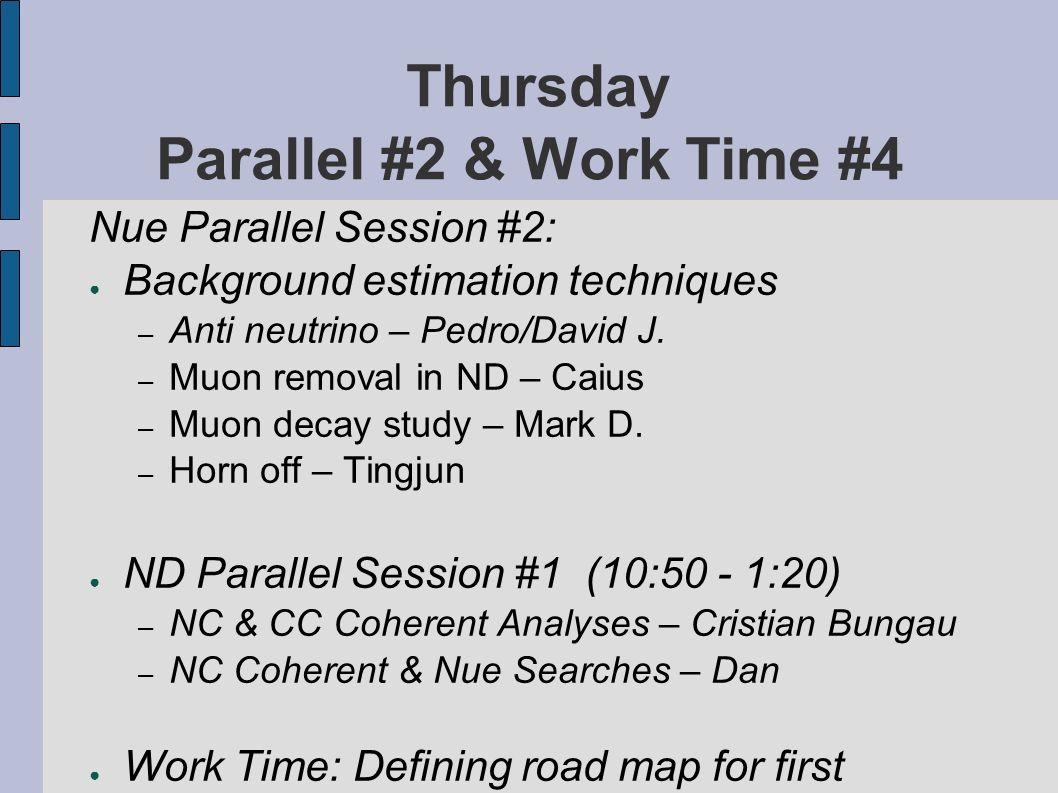 Thursday Parallel #2 & Work Time #4 Nue Parallel Session #2: Background estimation techniques – Anti neutrino – Pedro/David J.