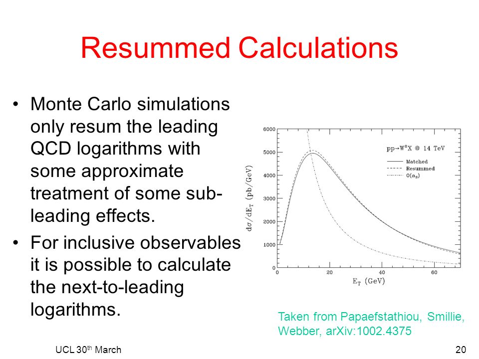 Resummed Calculations Monte Carlo simulations only resum the leading QCD logarithms with some approximate treatment of some sub- leading effects.