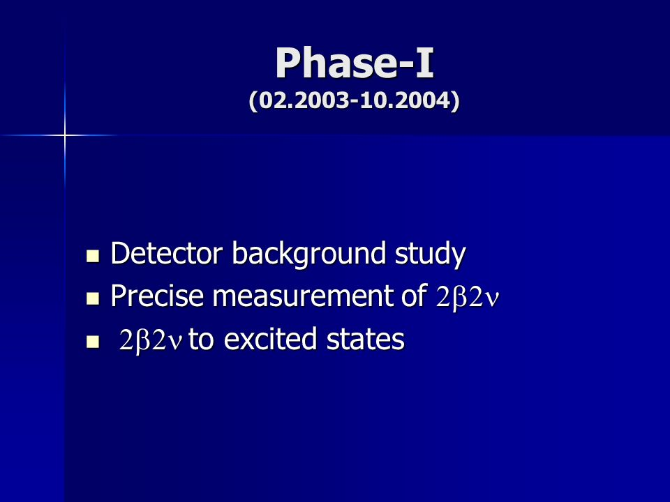 Phase-I (02.2003-10.2004) Detector background study Detector background study Precise measurement of Precise measurement of to excited states to excited states