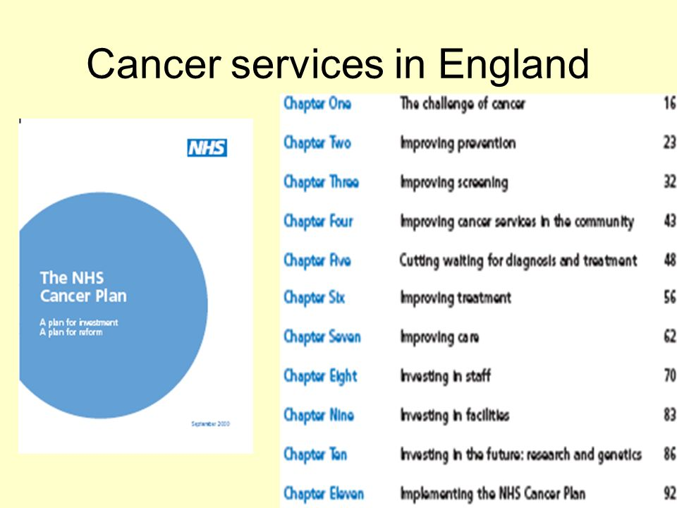 Cancer services in England