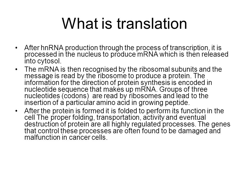 What is translation After hnRNA production through the process of transcription, it is processed in the nucleus to produce mRNA which is then released