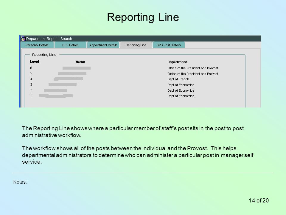 Notes: 14 of 20 Reporting Line The Reporting Line shows where a particular member of staffs post sits in the post to post administrative workflow.