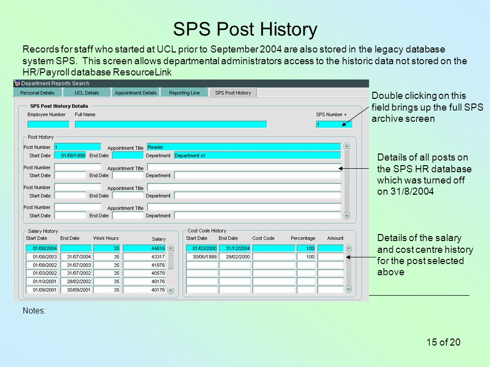 Notes: 15 of 20 SPS Post History Records for staff who started at UCL prior to September 2004 are also stored in the legacy database system SPS.