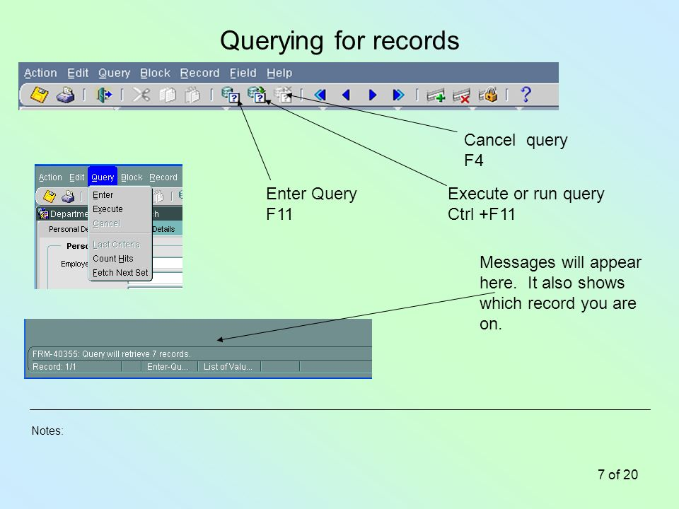 Notes: 7 of 20 Querying for records Enter Query F11 Execute or run query Ctrl +F11 Cancel query F4 Messages will appear here.