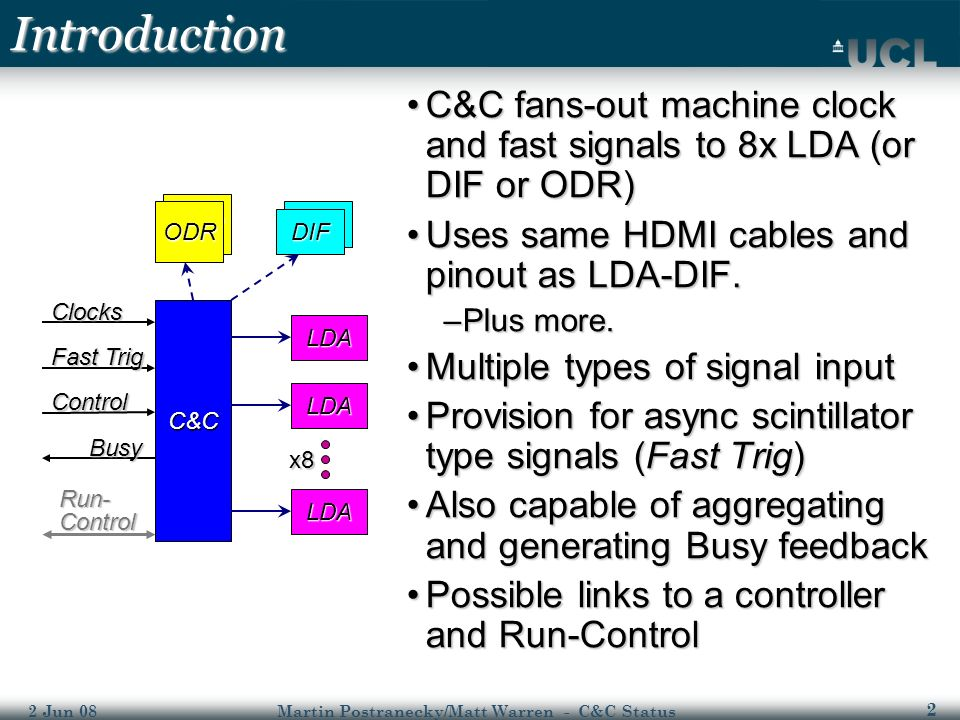 2 2 Jun 08Martin Postranecky/Matt Warren - C&C Status DIF ODR Introduction C&C fans-out machine clock and fast signals to 8x LDA (or DIF or ODR)C&C fans-out machine clock and fast signals to 8x LDA (or DIF or ODR) Uses same HDMI cables and pinout as LDA-DIF.Uses same HDMI cables and pinout as LDA-DIF.