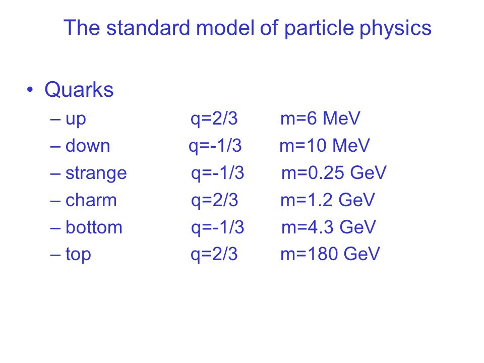 The standard model of particle physics Quarks –up q=2/3 m=6 MeV –down q=-1/3 m=10 MeV –strange q=-1/3 m=0.25 GeV –charm q=2/3 m=1.2 GeV –bottom q=-1/3 m=4.3 GeV –top q=2/3 m=180 GeV