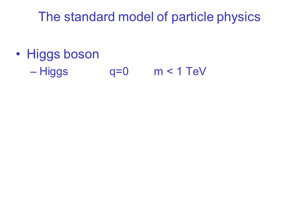The standard model of particle physics Higgs boson –Higgs q=0 m < 1 TeV