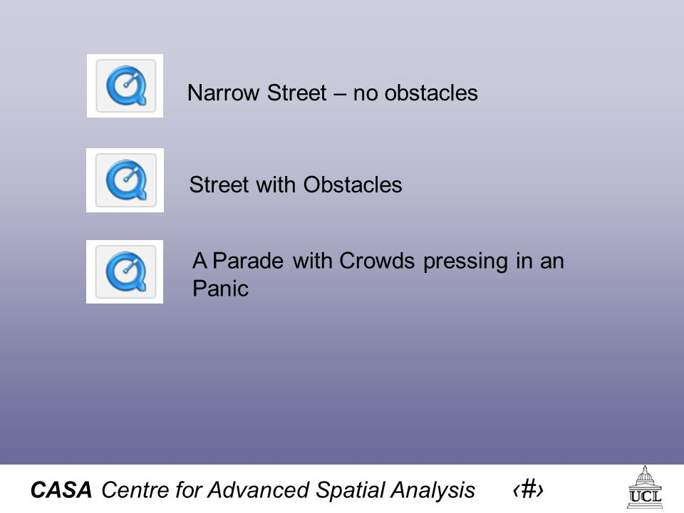 CASA Centre for Advanced Spatial Analysis 8 Street with Obstacles Narrow Street – no obstacles A Parade with Crowds pressing in an Panic