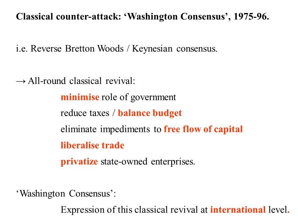 23 Classical counter-attack: Washington Consensus, 1975-96. i.e. Reverse Bretton Woods / Keynesian consensus. All-round classical revival: minimise ro