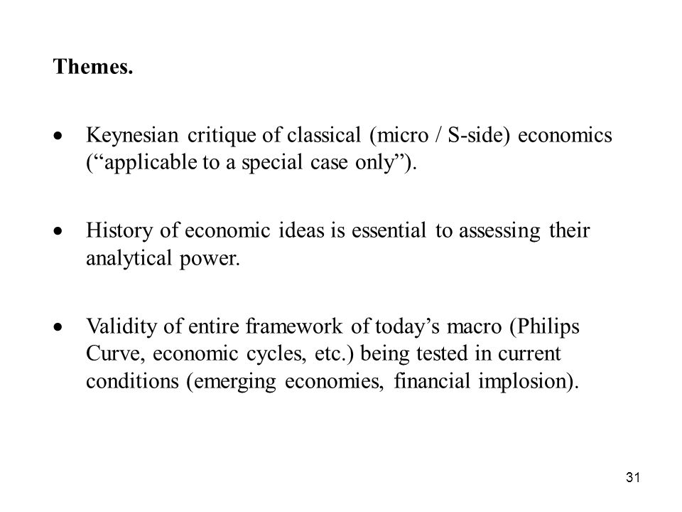 31 Themes. Keynesian critique of classical (micro / S-side) economics (applicable to a special case only). History of economic ideas is essential to a