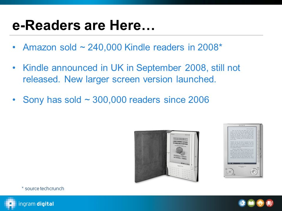 e-Readers are Here… Amazon sold ~ 240,000 Kindle readers in 2008* Kindle announced in UK in September 2008, still not released.