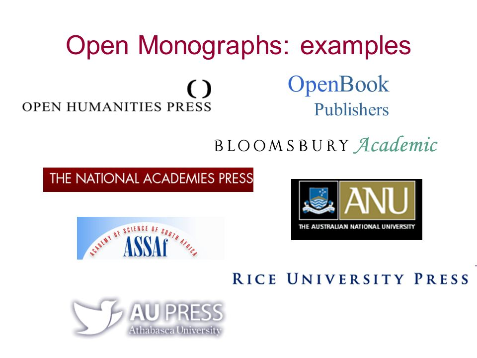 OpenBook Publishers Open Monographs: examples