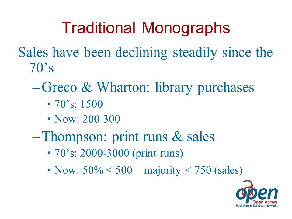 Amsterdam University Press Average print runs last 5 years: »600 Percentage of books in PoD: »50%