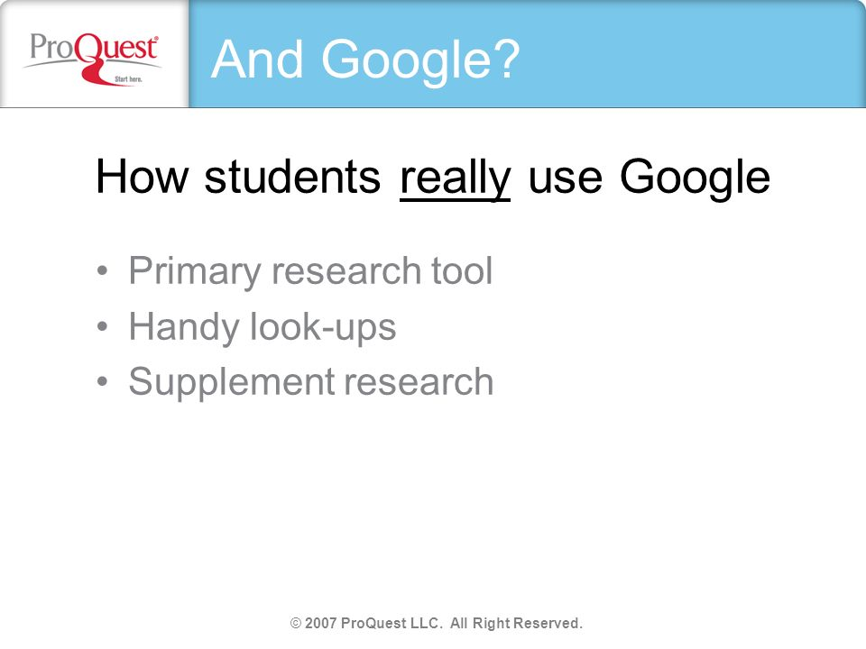 How students really use Google Primary research tool Handy look-ups Supplement research © 2007 ProQuest LLC. All Right Reserved. And Google?