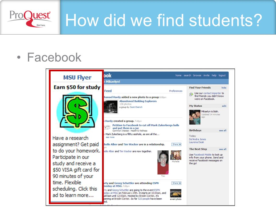 How did we find students? Facebook