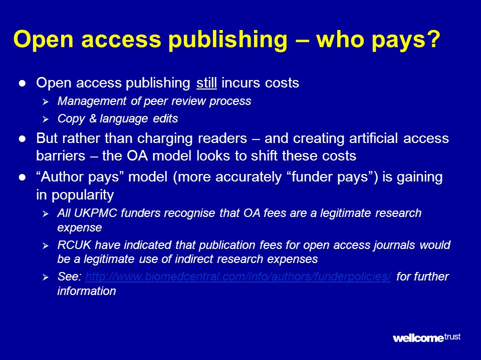 Open access publishing – who pays.
