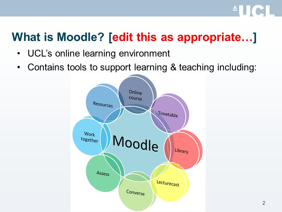 First steps [edit as appropriate…] Browse to Moodle: http://www.ucl.ac.uk/moodle http://www.ucl.ac.uk/moodle Join [Moodle Student Inductions] course: http://moodle.ucl.ac.uk/course/view.php?id=7434 http://moodle.ucl.ac.uk/course/view.php?id=7434