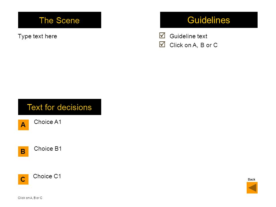The Scene Type text here Choice A1 Text for decisions Guidelines Guideline text Click on A, B or C A B C Choice B1 Choice C1 Click on A, B or C Back