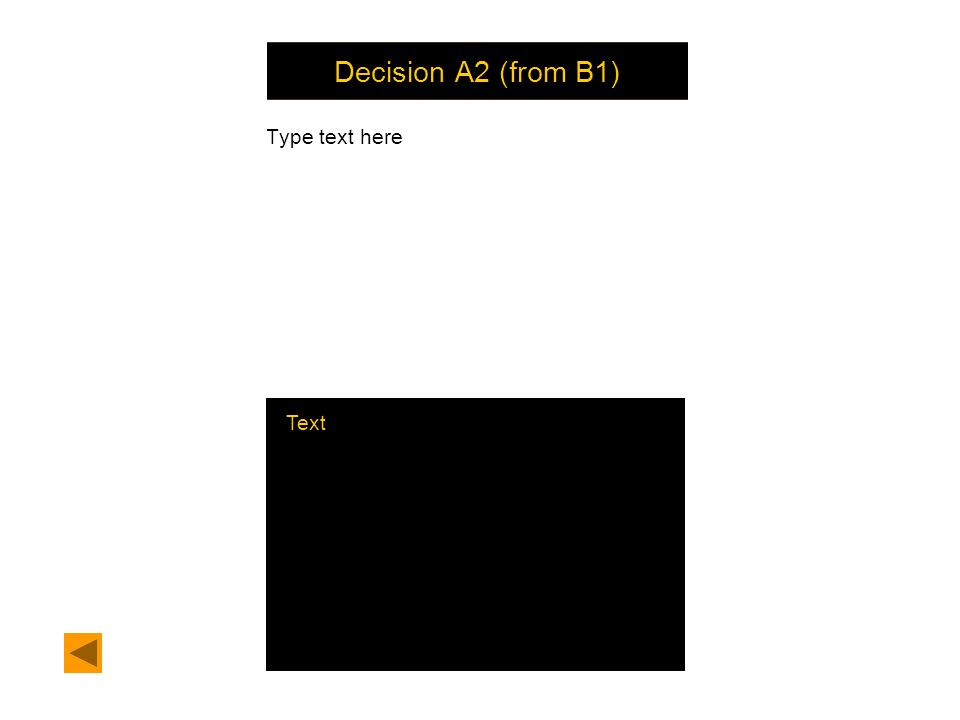 Decision A2 (from B1) Type text here Text