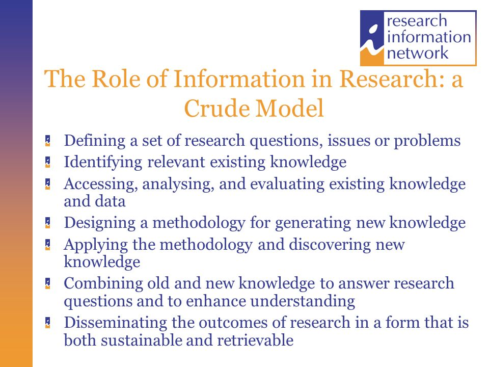 Core Functions of the Research Communications System Doing research to generate new knowledge and understanding Assuring the quality of information outputs Ensuring appropriate recognition and reward Presenting, publishing and disseminating information outputs Facilitating access and use Assessing and evaluating usage and impact Preserving valuable information outputs for the long term
