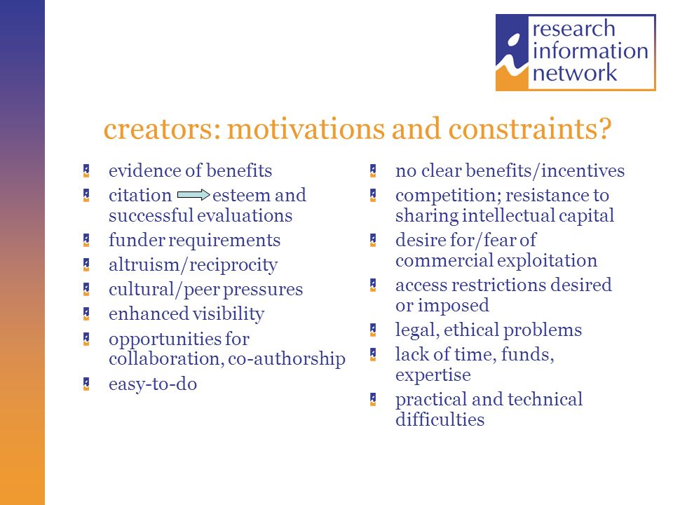 creators: motivations and constraints.