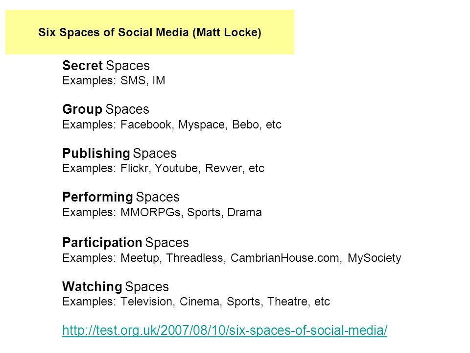 Secret Spaces Examples: SMS, IM Group Spaces Examples: Facebook, Myspace, Bebo, etc Publishing Spaces Examples: Flickr, Youtube, Revver, etc Performing Spaces Examples: MMORPGs, Sports, Drama Participation Spaces Examples: Meetup, Threadless, CambrianHouse.com, MySociety Watching Spaces Examples: Television, Cinema, Sports, Theatre, etc http://test.org.uk/2007/08/10/six-spaces-of-social-media/ Six Spaces of Social Media (Matt Locke)