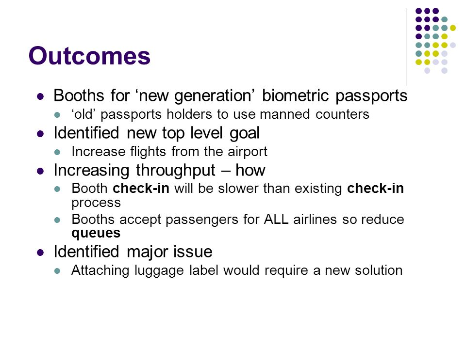 Outcomes Booths for new generation biometric passports old passports holders to use manned counters Identified new top level goal Increase flights from the airport Increasing throughput – how Booth check-in will be slower than existing check-in process Booths accept passengers for ALL airlines so reduce queues Identified major issue Attaching luggage label would require a new solution