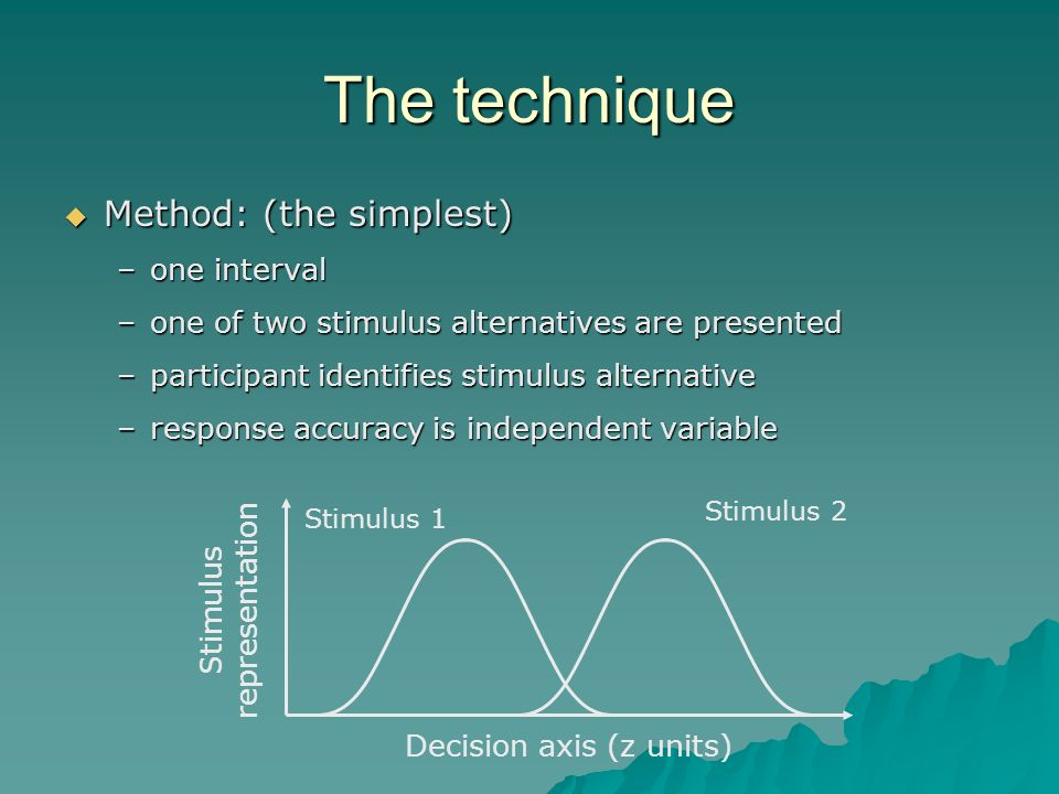 The technique Method: (the simplest) Method: (the simplest) –one interval –one of two stimulus alternatives are presented –participant identifies stimulus alternative –response accuracy is independent variable Decision axis (z units) Stimulus representation Stimulus 2 Stimulus 1