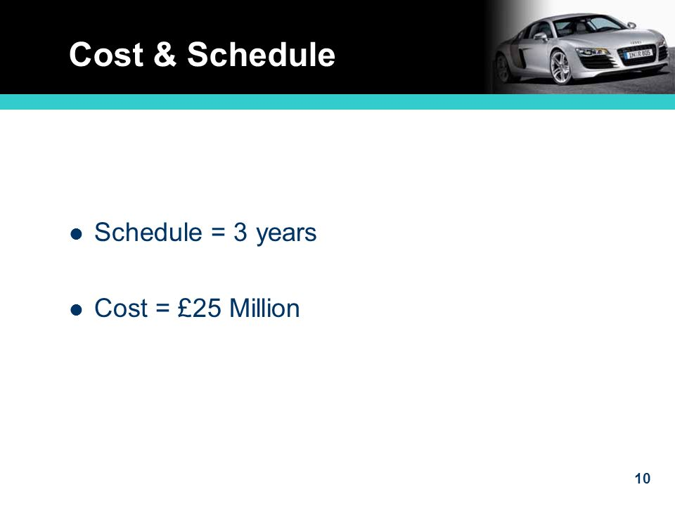 10 Cost & Schedule Schedule = 3 years Cost = £25 Million