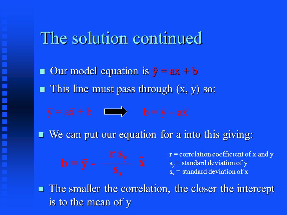The solution continued Our model equation is ŷ = ax + b Our model equation is ŷ = ax + b This line must pass through (x, y) so: This line must pass through (x, y) so: y = ax + b b = y – ax We can put our equation for a into this giving: We can put our equation for a into this giving: b = y – ax b = y - r s y sxsx r = correlation coefficient of x and y s y = standard deviation of y s x = standard deviation of x x The smaller the correlation, the closer the intercept is to the mean of y The smaller the correlation, the closer the intercept is to the mean of y
