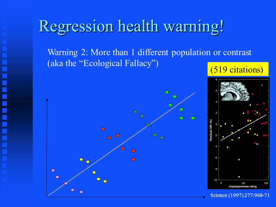 Warning 2: More than 1 different population or contrast (aka the Ecological Fallacy) Regression health warning.