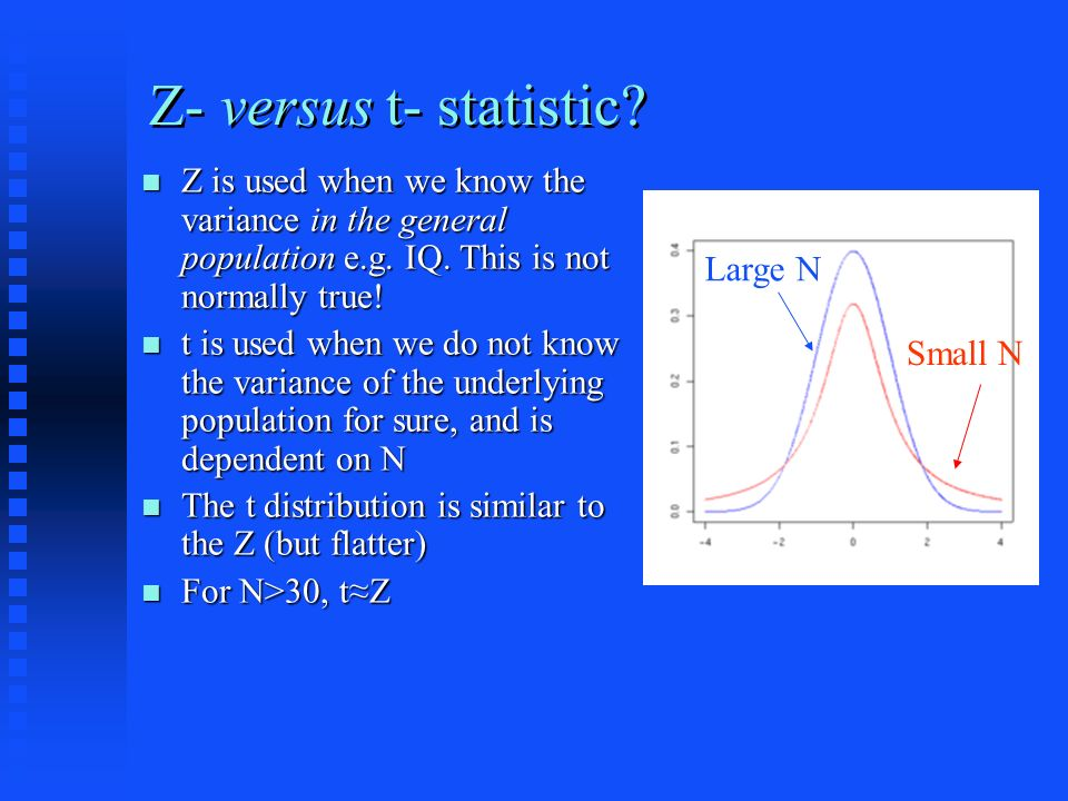 Z- versus t- statistic. Z is used when we know the variance in the general population e.g.