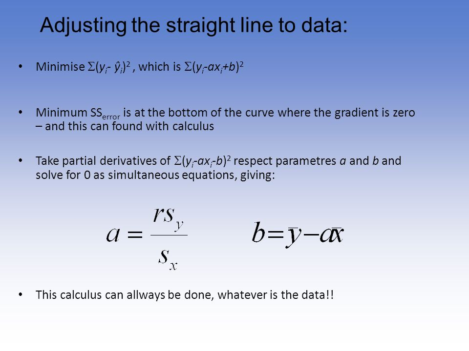 Adjusting the straight line to data: Minimise (y i - ŷ i ) 2, which is (y i -ax i +b) 2 Minimum SS error is at the bottom of the curve where the gradi