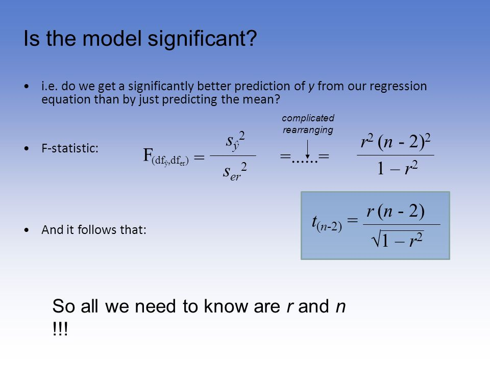 Is the model significant? i.e. do we get a significantly better prediction of y from our regression equation than by just predicting the mean? F-stati