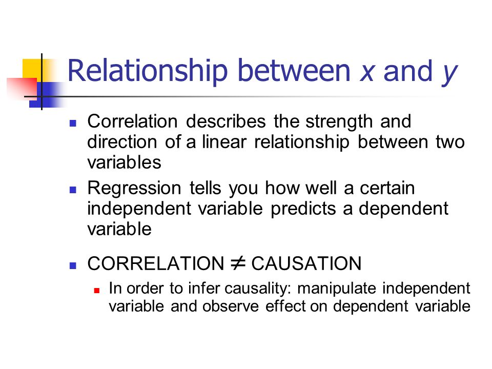 Relationship between x and y Correlation describes the strength and direction of a linear relationship between two variables Regression tells you how