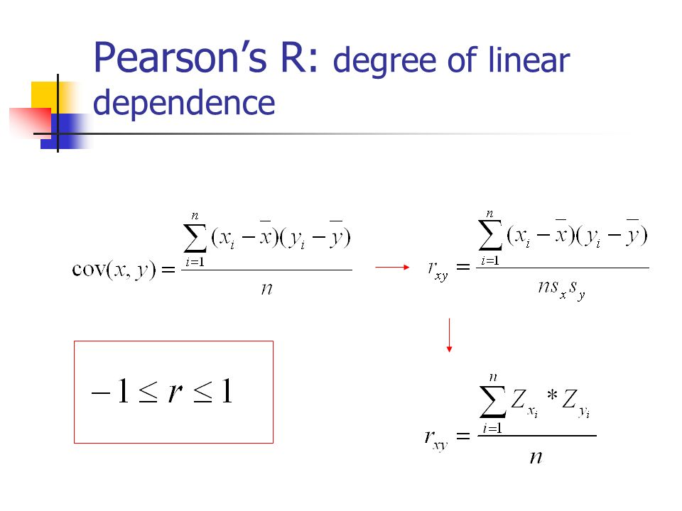 Pearsons R: degree of linear dependence