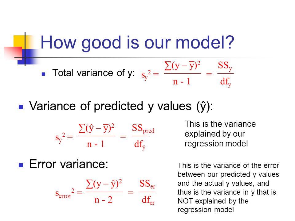 How good is our model? Total variance of y: s y 2 = (y – y) 2 n - 1 SS y df y = Variance of predicted y values (ŷ): Error variance: s ŷ 2 = (ŷ – y) 2