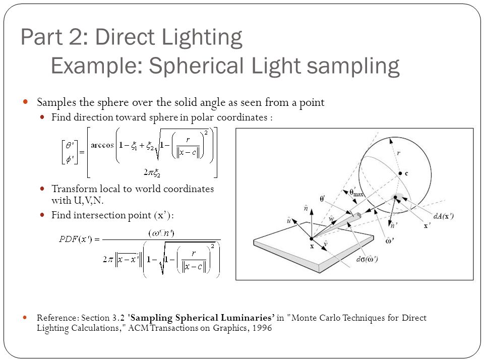 Part 2: Direct Lighting Example: Spherical Light sampling Samples the sphere over the solid angle as seen from a point Find direction toward sphere in polar coordinates : Transform local to world coordinates with U,V,N.