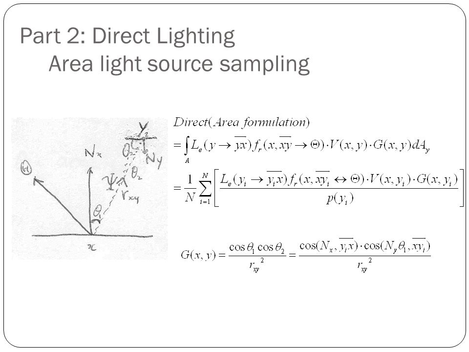 Part 2: Direct Lighting Area light source sampling