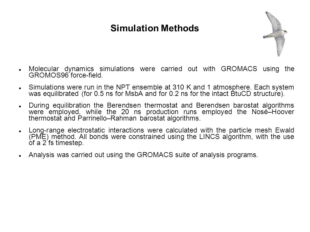Molecular dynamics simulations were carried out with GROMACS using the GROMOS96 force-field. Simulations were run in the NPT ensemble at 310 K and 1 a