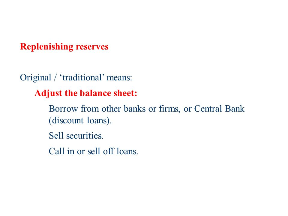 Replenishing reserves Original / traditional means: Adjust the balance sheet: Borrow from other banks or firms, or Central Bank (discount loans).