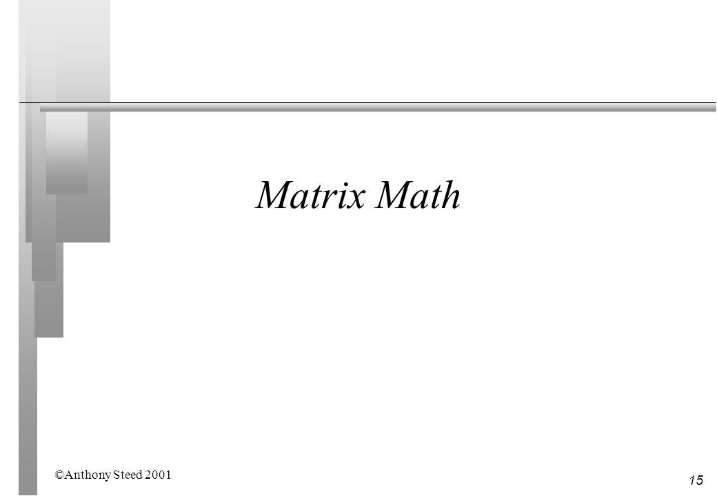 15 Matrix Math ©Anthony Steed 2001
