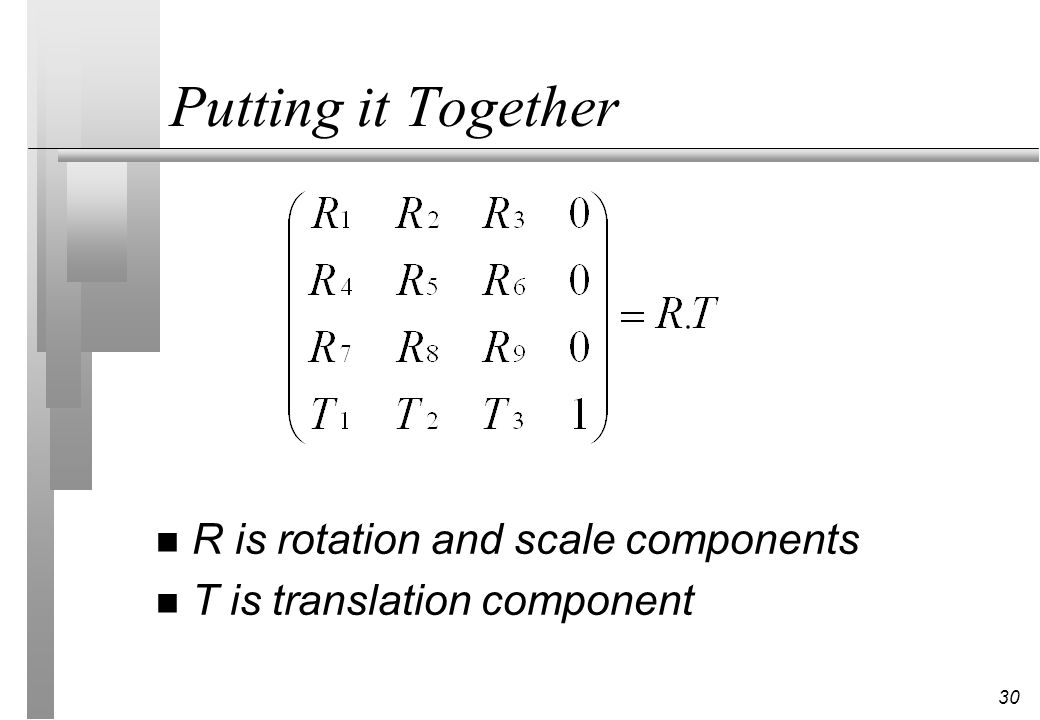 30 Putting it Together n R is rotation and scale components n T is translation component