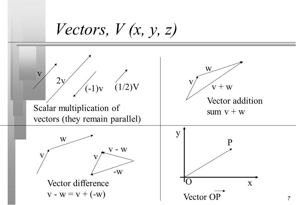 7 Vectors, V (x, y, z) v w v + w Vector addition sum v + w v 2v (-1)v (1/2)V Scalar multiplication of vectors (they remain parallel) v w Vector differ