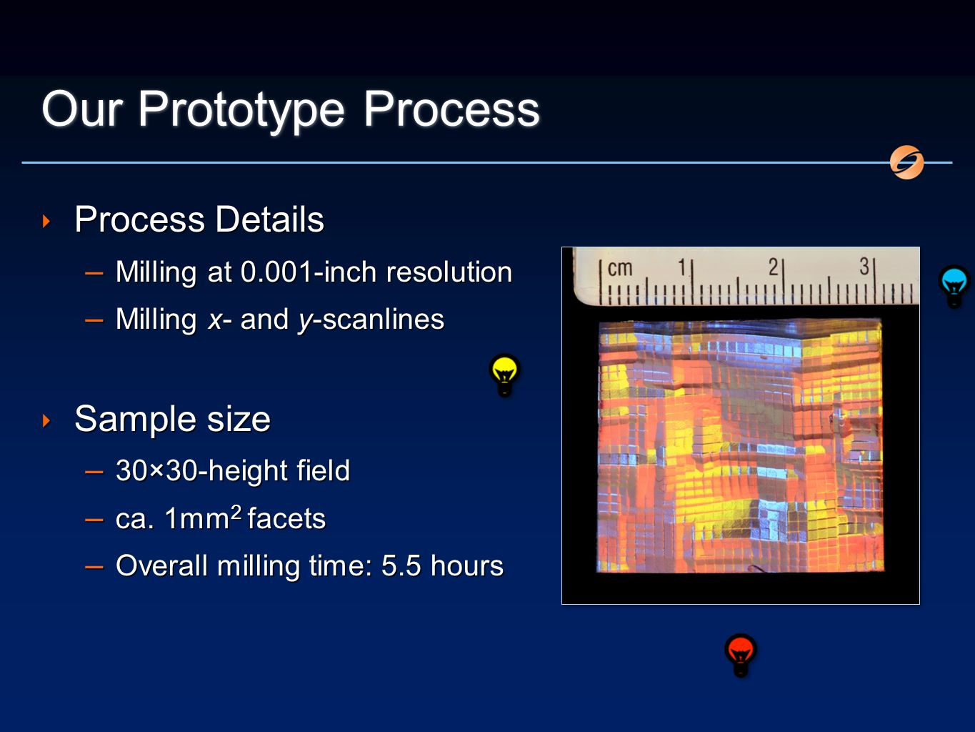 Our Prototype Process Process Details – Milling at 0.001-inch resolution – Milling x- and y-scanlines Sample size – 30×30-height field – ca. 1mm 2 fac