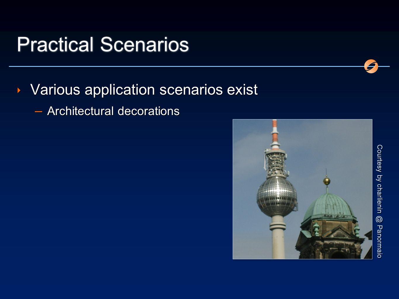 Practical Scenarios Various application scenarios exist – Architectural decorations Various application scenarios exist – Architectural decorations Courtesy by charlienin @ Panormaio